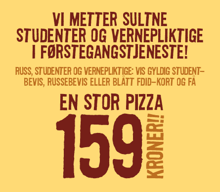 Studenttilbud hos Pizzabakeren stor pizza 159 kr