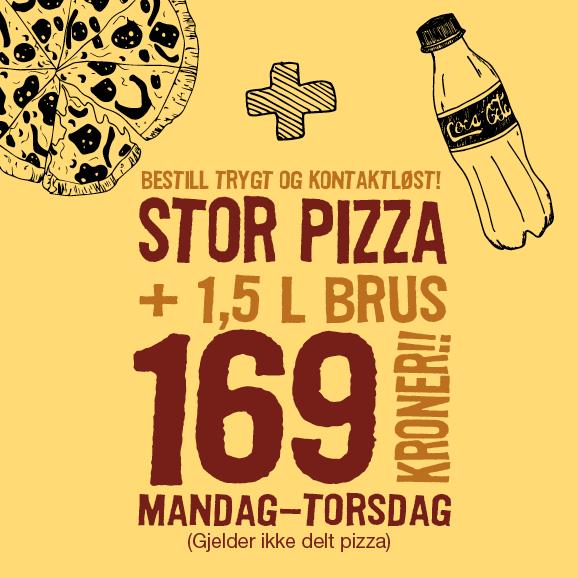 Mandag-torsdag uke 38: Stor pizza + 1,5 l brus kun kr 169,-